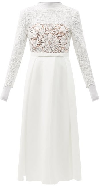 Self-Portrait Guipure-lace And Taffeta Midi Dress - White