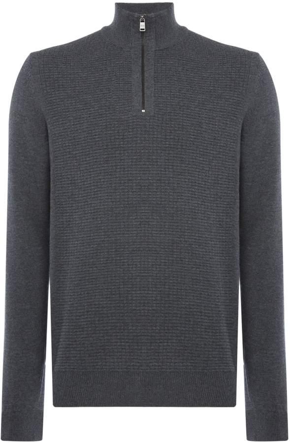 HUGO BOSS Men's Nacello textured quarter zip jumper