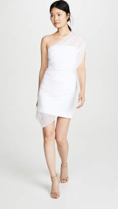 Cushnie Strapless Mini Dress with Draped Chiffon Overlay