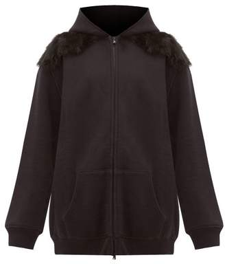 Raey Panelled Shearling And Cotton Hooded Sweatshirt - Womens - Black