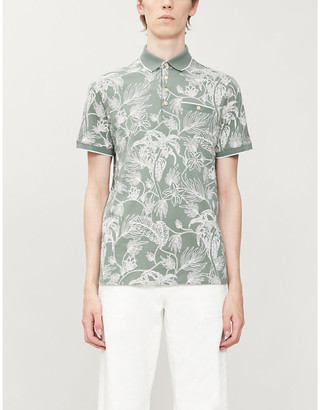 Ted Baker Teeleaf floral-print cotton-jersey polo shirt