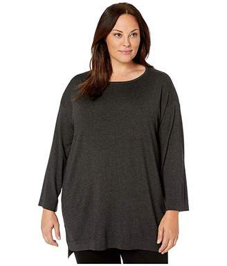Eileen Fisher Plus Size Lightweight Cozy Tencel Stretch Bateau Neck Bracelet Sleeve Tunic (Charcoal) Women's Clothing
