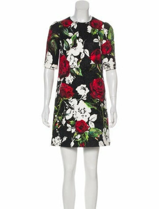 Dolce & Gabbana Floral Mini Dress Black