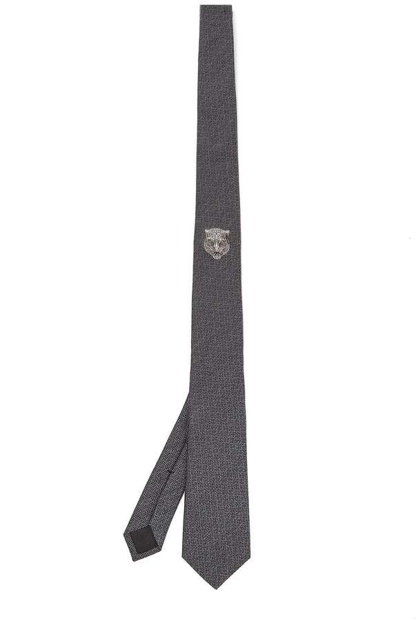 Gucci Tiger-embroidered silk-blend tie