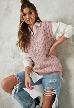 Missguided Pink V Neck Sleeveless Cable Knit Tunic