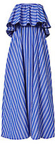 MDS Stripes Ruffled Strapless Maxi Dress