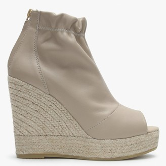 Kanna Pickerel Nude Leather Espadrille Wedge Ankle Boots