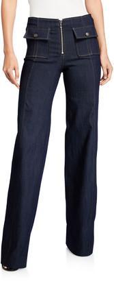 Cinq à Sept Azure Flap-Pocket Denim Pants