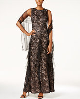 Alex Evenings Sequined Lace Ruffle Gown and Shawl