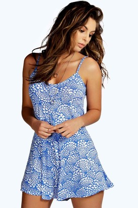 boohoo Blue Print Swing Playsuit