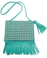 Stud Fringe Handbag: Turquoise
