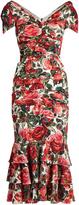 Dolce & Gabbana Rose-print ruched silk-blend jersey dress