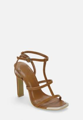 Missguided Tan Caged Metal Toe Cap Heeled Sandals