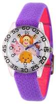 Disney Girls' Tigger-Pooh-Goofy-Eeyore and Piglet Clear Plastic Time Teacher Watch - Purple