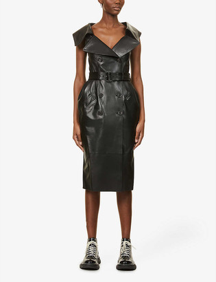 Alexander McQueen Double-breasted leather midi dress