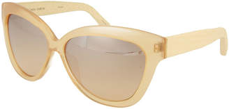 Linda Farrow Oversized Snakeskin/Acetate Cat-Eye Sunglasses