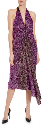 Halpern Ruched Degrade Sequin Dress