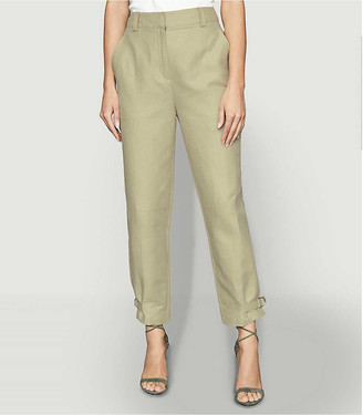 Reiss Eden tapered high-rise cotton and hemp-blend trousers