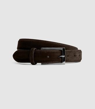 Reiss Joopy - Suede Belt in Dark Brown