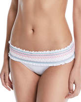 Red Carter In Stitches Smocked Hipster Swim Bikini Bottoms