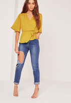 Missguided Satin Elastic Waist Tie Front Blouse Chartreuse Green