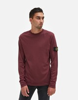 Stone Island Mako Cotton Interlock LS Badge T-Shirt in Burgundy