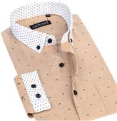 DreamMa Men Long Sleeve Square Collar Button-Down Shirt Men's Oxford Floral Print Shirts