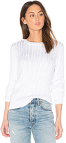 525 America Chiffon Tie V Back Sweater in White