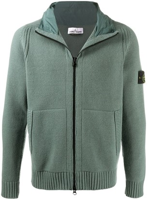 Stone Island Zip-Up Knitted Hoodie