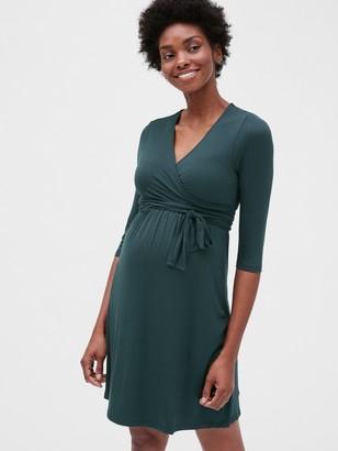 Gap Maternity Three-Quarter Sleeve Wrap Dress