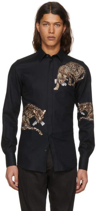 Dolce & Gabbana Black Leopard Shirt