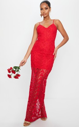 4fashion Red Thick Lace Strappy Maxi Dress