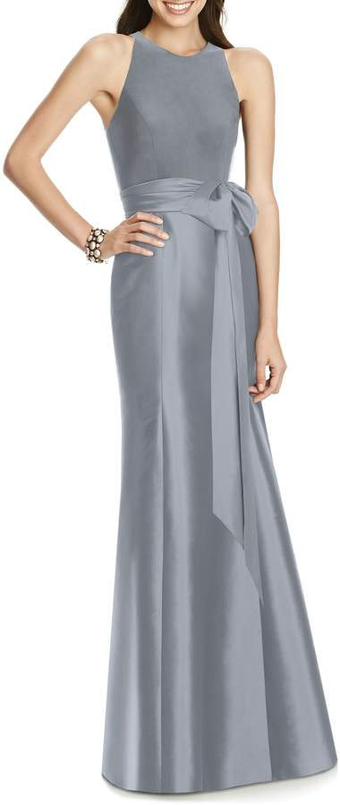 Alfred Sung Mikado Jersey Bodice Trumpet Gown