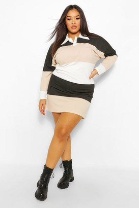 boohoo Plus Colour Block Rugby Tee Dress