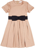 Lanvin TAFFETA A-LINE DRESS-NAVY, TAN SIZE 8