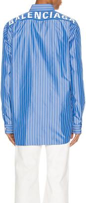 Balenciaga Long Sleeve Logo Shirt in Blue & White | FWRD