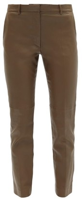 Joseph Coleman Cropped Leather Trousers - Khaki
