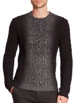 Vince Marled Degrade Cable-Knit Sweater