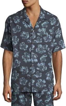 Desmond & Dempsey Men's Floral Cuban Short-Sleeve Shirt