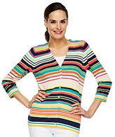 As Is Liz Claiborne New York 3/4 Sleeve V-neck Striped Cardigan