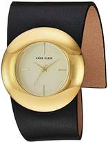 Anne Klein Women's Quartz Metal and Leather Dress Watch, Color:Black (Model: AK/2652CHBK)