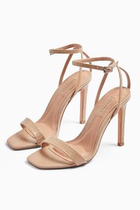 Topshop Womens **Wide Fit Saskia Skinny Two Part Heels - Nude