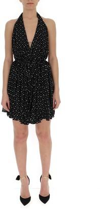 Saint Laurent Heart Printed Halter Dress