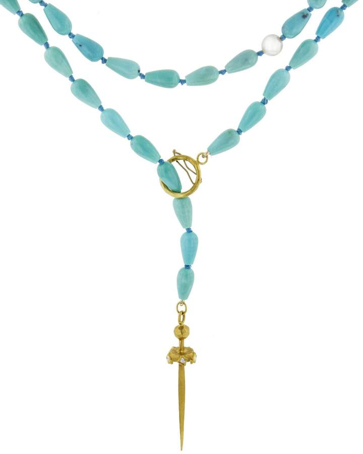 Cathy Waterman Turquoise Sword Necklace