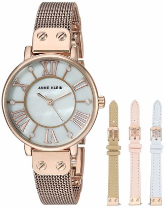 Anne Klein Women's Mesh Bracelet Watch and Interchangeable Strap Set AK/3180RGST