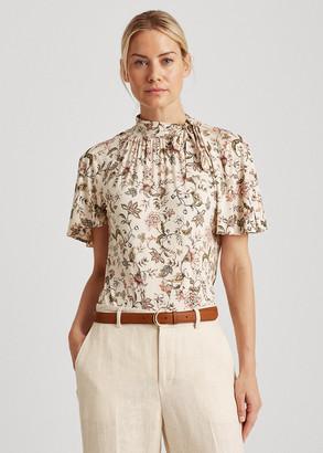 Ralph Lauren Floral Jersey Tie-Neck Top