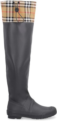 Burberry Rubber And Fabriv Rain Boots