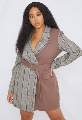 Missguided Plus Size Brown Plaid Belted Blazer Dress