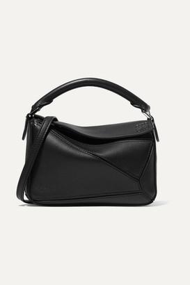 Loewe Puzzle Mini Textured-leather Shoulder Bag - Black