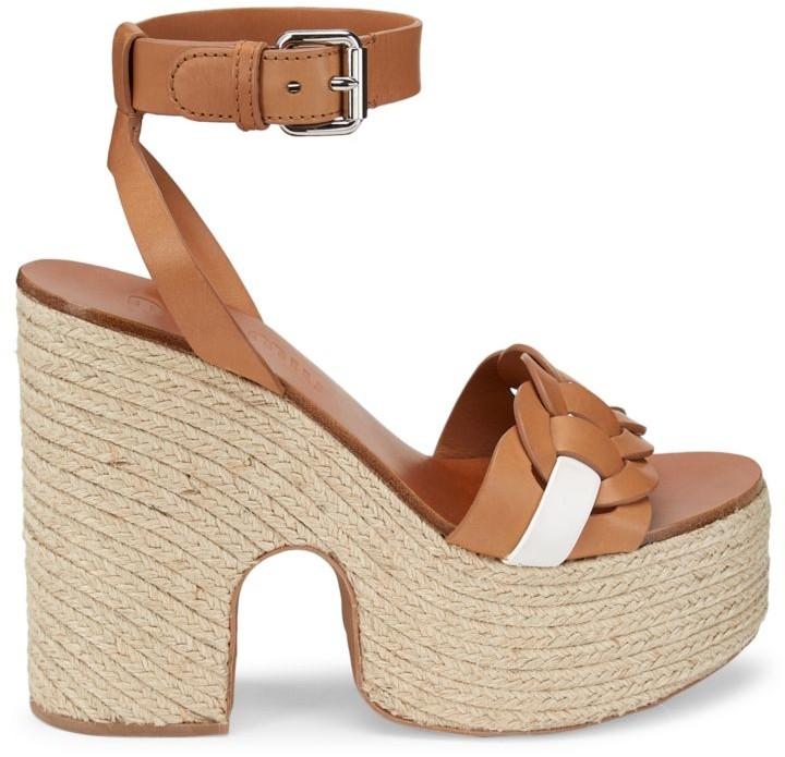 Miu Miu Leather Platform Espadrille Sandals